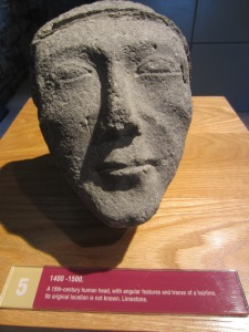 At Jerpoint Abbey - an elegant, 15th century head - perhaps a stonemason's signature or in honour of a bishop or saint?